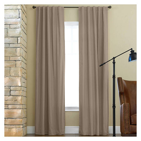 JCPenney Home Jenner Cotton Twill Rod-Pocket/Back-Tab Thermal Curtain Panel, One Size , Beige