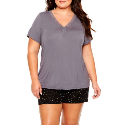 Ambrielle® Lace-Accented Short-Sleeve Sleep Tee - Plus
