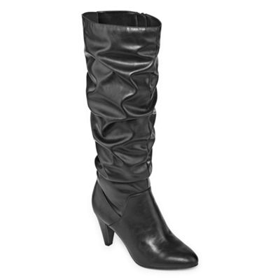 Worthington Womens Lara Slouch Kitten Heel Zip Boots