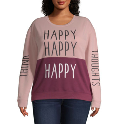 """Think Happy Thoughts"" Sweatshirt - Juniors Plus"