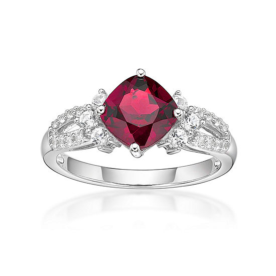 Womens Lab Created Ruby Lab Created White Sapphire Sterling Silver Cocktail Ring