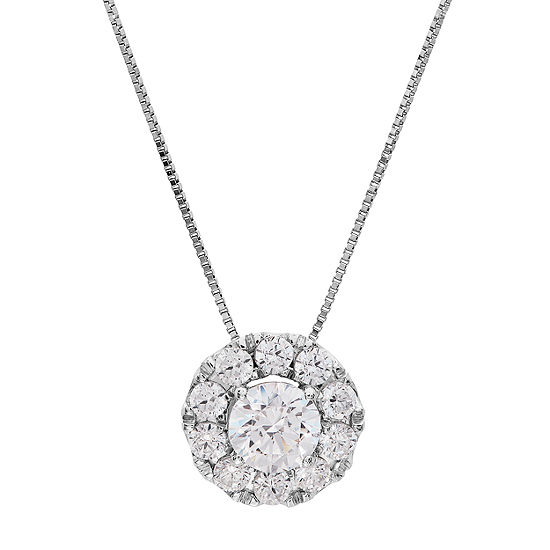 Grown With Love Womens 1 CT. T.W. Lab Grown White Diamond 14K White Gold Pendant Necklace