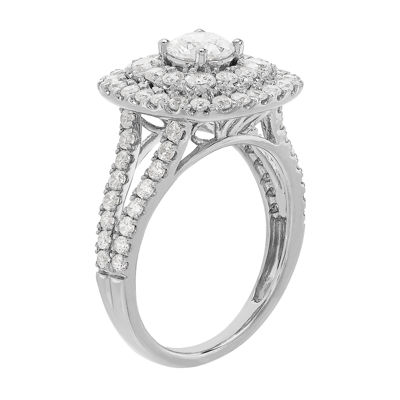 Grown With Love Womens 2 CT. T.W. Lab Grown White Diamond 14K White Gold Engagement Ring