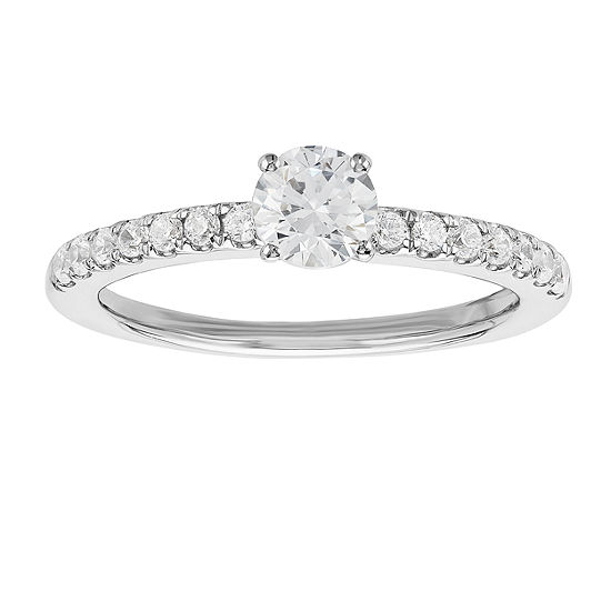 Grown With Love Womens 3/4 CT. T.W. Lab Grown White Diamond 14K White Gold Engagement Ring