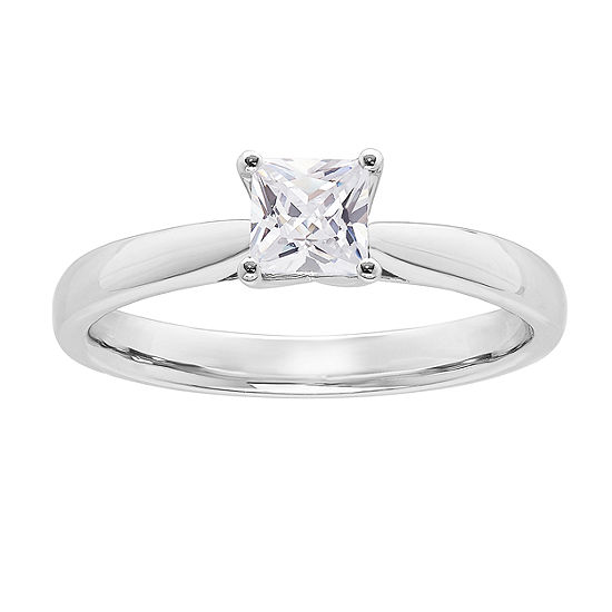 Grown With Love Womens 1/2 CT. T.W. Lab Grown White Diamond 14K White Gold Solitaire Engagement Ring