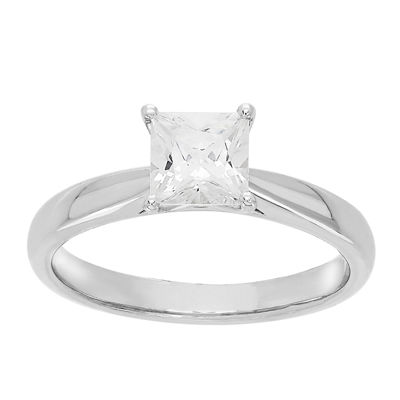Grown With Love Womens 1 CT. T.W. Lab Grown White Diamond 14K White Gold Solitaire Engagement Ring