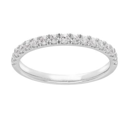 Grown With Love Womens 3/8 CT. T.W. Lab Grown White Diamond 14K White Gold Wedding Band