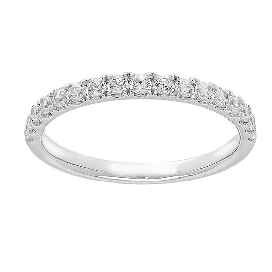 Grown With Love Womens 3/8 CT. T.W. Lab Grown White Diamond 14K White Gold Wedding Band