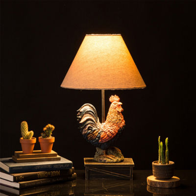 Rooster Resin Table Lamp