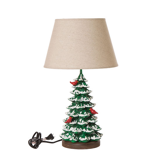 Glitzhome Christmas Tree Resin Table Lamp