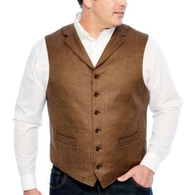 Stafford Merino Stretch Brown Donegal Classic Fit Suit Vest - Big and Tall