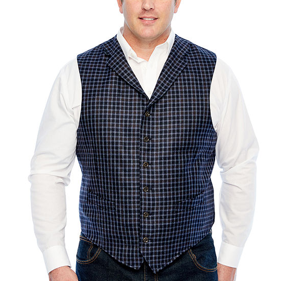 Stafford Merino Stretch Blue Navy Grid Classic Fit Suit Vest - Big and Tall