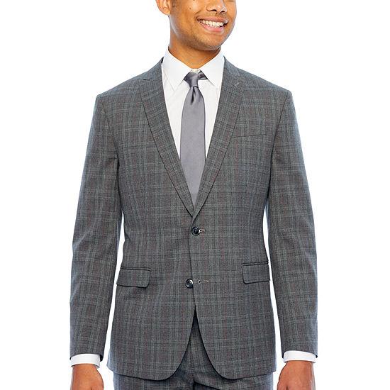 JF J.Ferrar Mens Checked Stretch Classic Fit Suit Jacket
