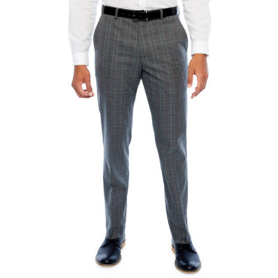 JF J.Ferrar Mens Checked Stretch Classic Fit Suit Pants