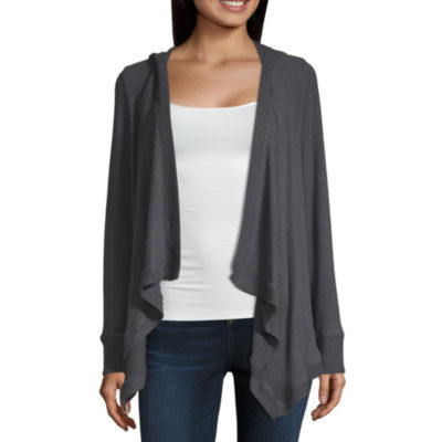 by&by Womens Hooded Neck Long Sleeve Cardigan-Juniors