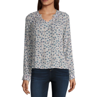 a.n.a Long Sleeve Scoop Neck Woven Blouse