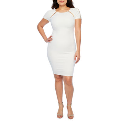 Premier Amour Short Sleeve Beaded Sheath Dress