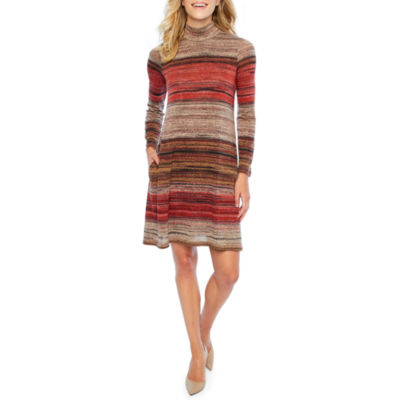 Rabbit Rabbit Rabbit Design Long Sleeve Stripe Shift Dress