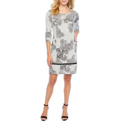 Rabbit Rabbit Rabbit Design 3/4 Sleeve Paisley Sheath Dress