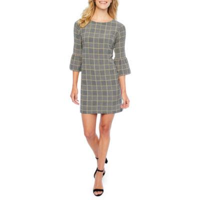 Soho 3/4 Sleeve Plaid Shift Dress