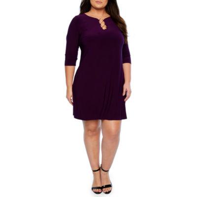 MSK 3/4 Sleeve Ring Shift Dress - Plus