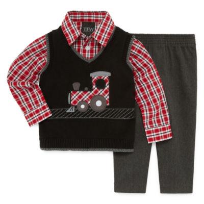 TFW 3-pc.Train Vest Plaid Pant Set - Baby Boys
