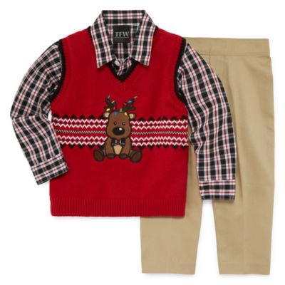 TFW 3-pc.Reindeer Vest Pant Set -Baby Boys