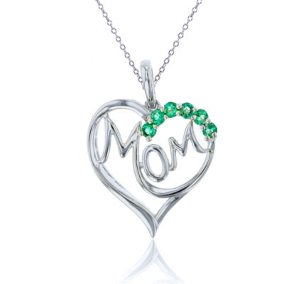 Womens Lab Created Green Emerald Heart Pendant Necklace