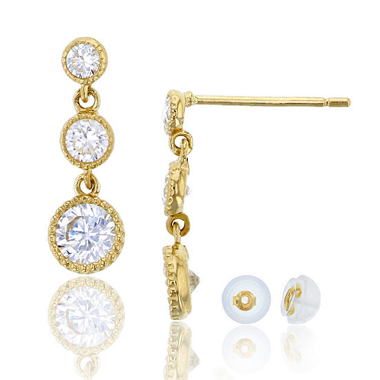 7/8 CT. T.W. Simulated White Cubic Zirconia 14K Gold Drop Earrings