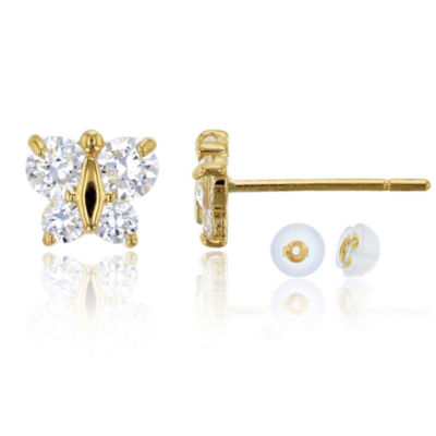 1/2 CT. T.W. Simulated White Cubic Zirconia 14K Gold 5mm Butterfly Stud Earrings