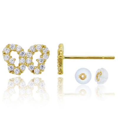 1/3 CT. T.W. Simulated White Cubic Zirconia 14K Gold 8mm Butterfly Stud Earrings