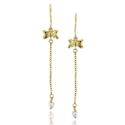 1/8 CT. T.W. Simulated White Cubic Zirconia 14K Gold Bow Drop Earrings