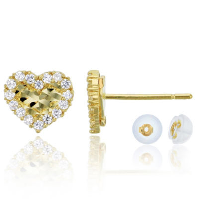 1/3 CT. T.W. Simulated White Cubic Zirconia 14K Gold 7mm Heart Stud Earrings