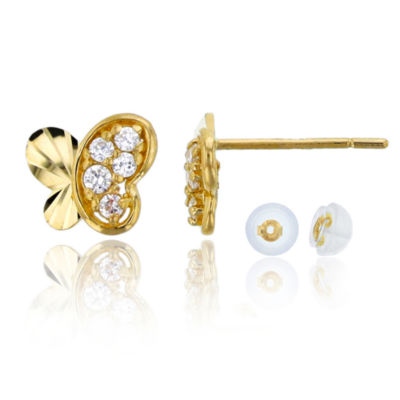 1/5 CT. T.W. Simulated White Cubic Zirconia 14K Gold 8mm Butterfly Stud Earrings