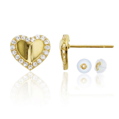 1/3 CT. T.W. Simulated White Cubic Zirconia 14K Gold 8mm Heart Stud Earrings