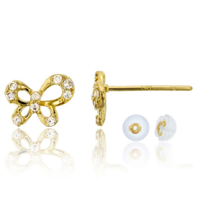 1/6 CT. T.W. Simulated White Cubic Zirconia 14K Gold 8mm Butterfly Stud Earrings