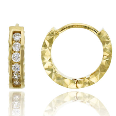 3/8 CT. T.W. Simulated White Cubic Zirconia 14K Gold 12mm Hoop Earrings