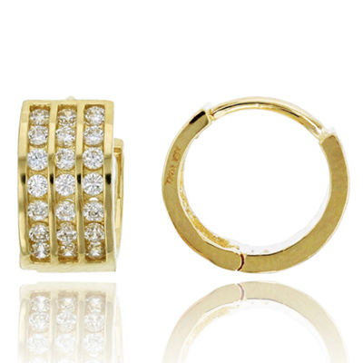 7/8 CT. T.W. Simulated White Cubic Zirconia 14K Gold 11mm Hoop Earrings