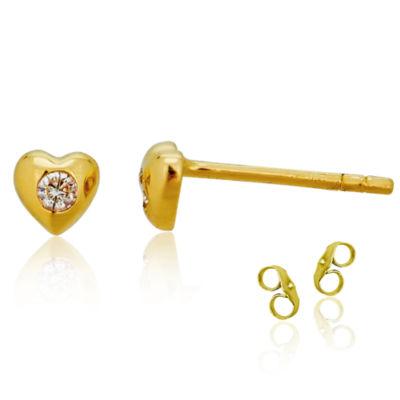 Diamond Accent White Cubic Zirconia 14K Gold 4mm Heart Stud Earrings