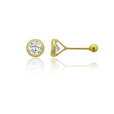 7/8 CT. T.W. White Cubic Zirconia 14K Gold 4mm Round Stud Earrings