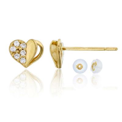 1 CT. T.W. White Cubic Zirconia 14K Gold 6mm Heart Stud Earrings