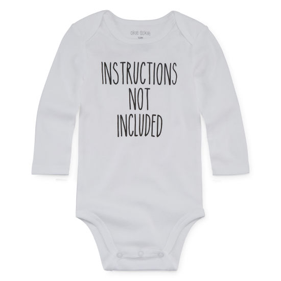"Okie Dokie ""Instructions Not Included"" Long Sleeve Bodysuit - Baby NB-24M"