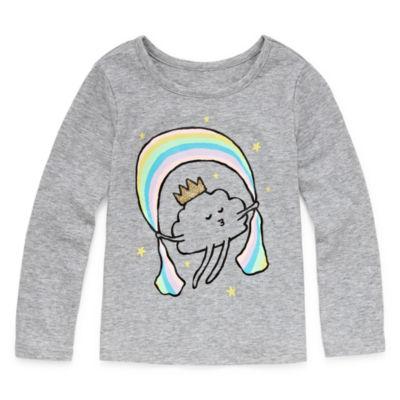 Okie Dokie Girls Scoop Neck Long Sleeve Graphic T-Shirt-Toddler