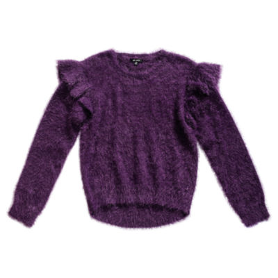 Obsess Girls Round Neck Long Sleeve Pullover Sweater Big Kid