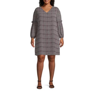 Worthington Ballon Sleeve Menswear Dress - Plus