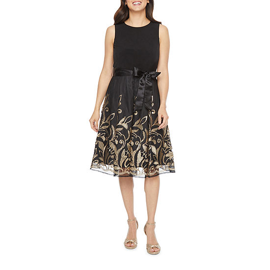 R & K Originals Sleeveless Floral Sequin Embroidered Fit & Flare Dress