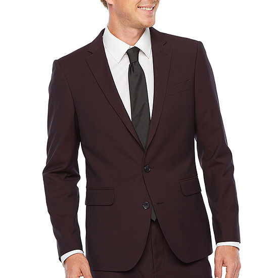 JF J.Ferrar 360 Stretch Burgundy Pulse Mens Stretch Classic Fit Suit Jacket-Big and Tall