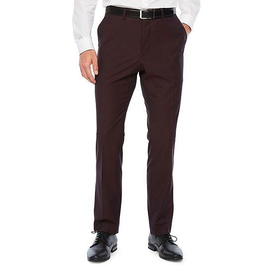 JF J.Ferrar 360 Stretch Burgundy Pulse Mens Stretch Classic Fit Suit Pants - Big and Tall