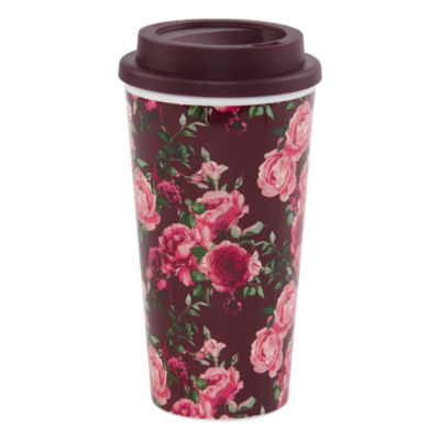 Mixit Burgundy Floral Travel Mug
