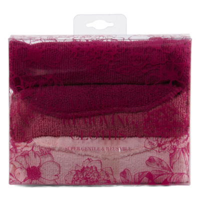 Tri-Coastal Design Burgundy Floral Makeup Remover Cloth Set